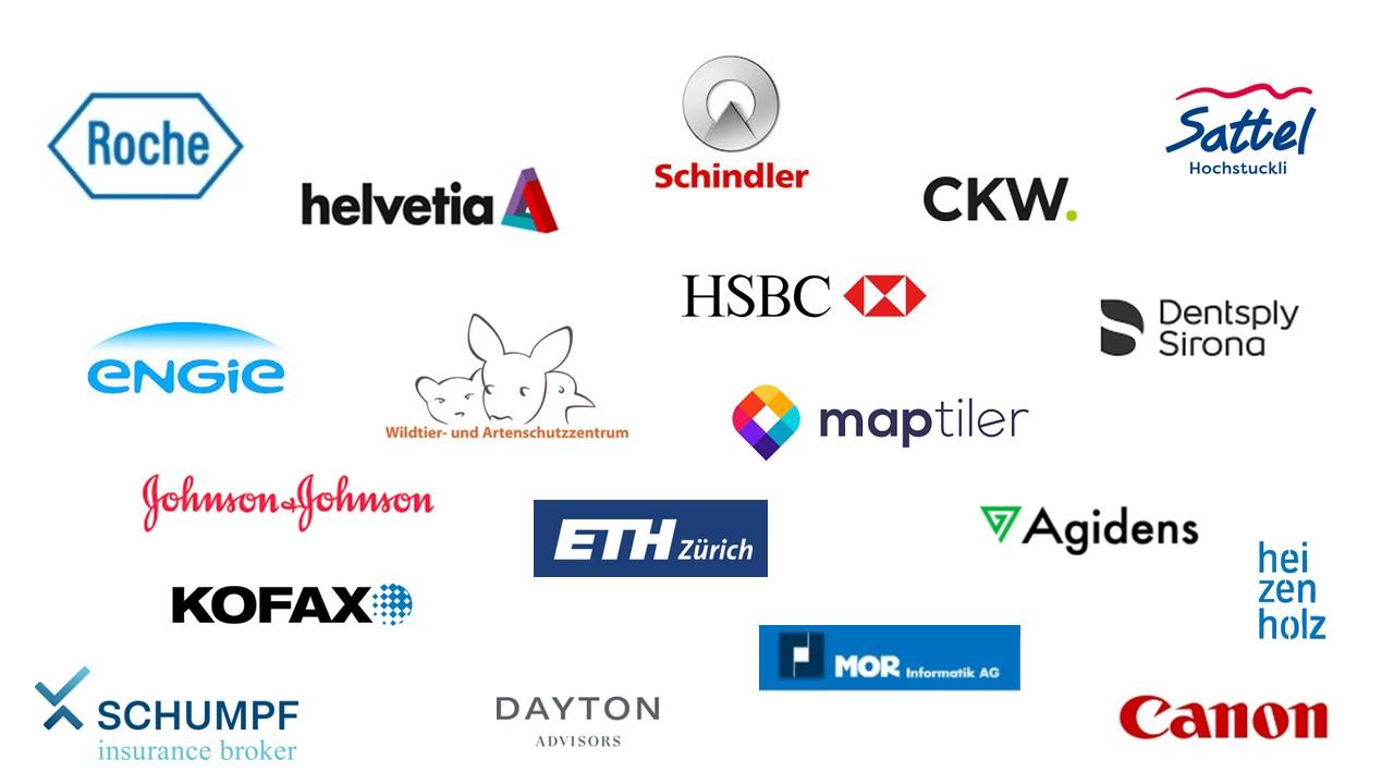 Logos von verschiedenen Kunden im Bereich Teamentwicklung